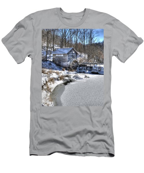 Men's T-Shirt (Slim Fit) featuring the photograph Hyde's  Mill In The Winter by Janice Adomeit