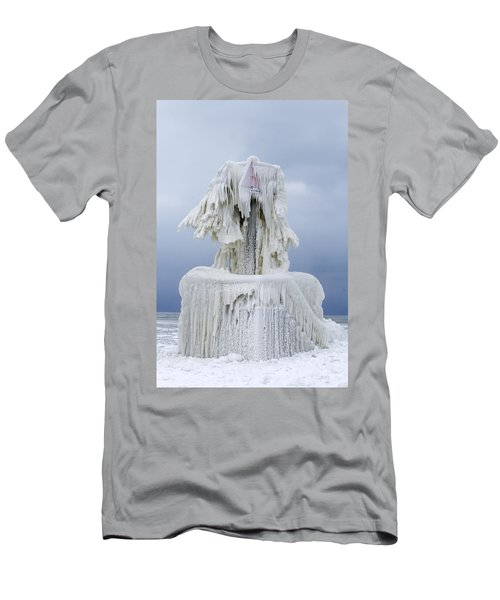 Ice Covered Warning Tower Along Lake Michigan In St. Joseph Michigan Men's T-Shirt (Athletic Fit)