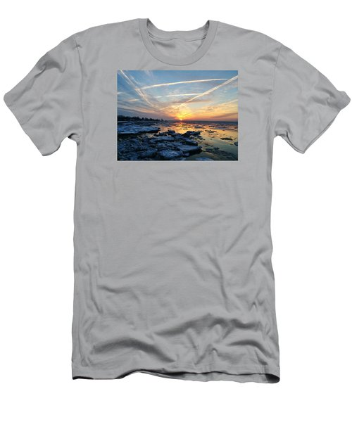 Ice On The Delaware River Men's T-Shirt (Slim Fit) by Ed Sweeney