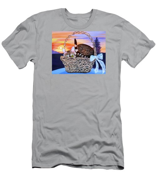 Men's T-Shirt (Slim Fit) featuring the painting I'm Hiding   Oil Painting by Phyllis Kaltenbach