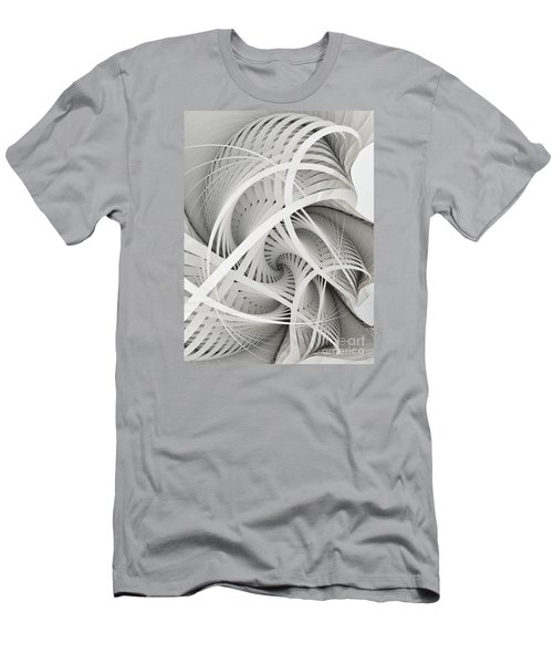 In Betweens-white Fractal Spiral Men's T-Shirt (Slim Fit) by Karin Kuhlmann