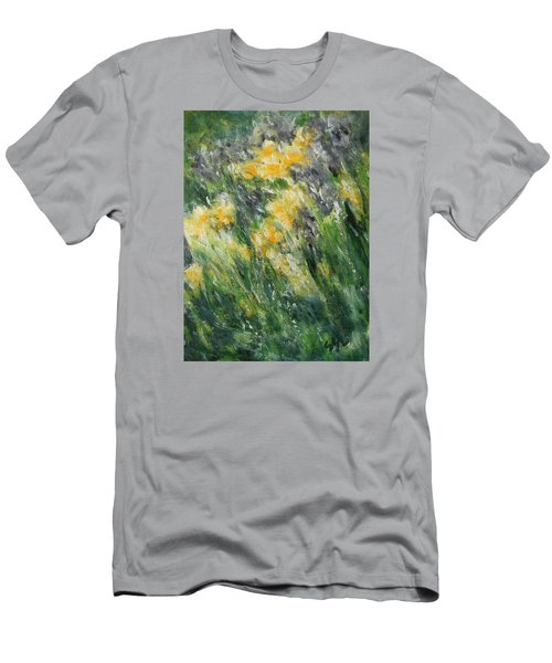 Men's T-Shirt (Slim Fit) featuring the painting Irises by Jane See