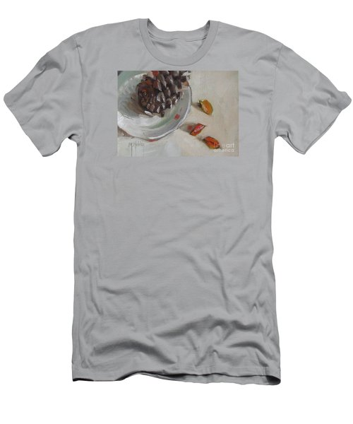 Pine Cone Still Life On A Plate Men's T-Shirt (Slim Fit) by Mary Hubley