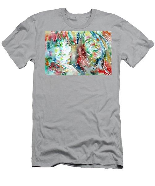 Janis Joplin And Grace Slick Watercolor Portrait.1 Men's T-Shirt (Athletic Fit)
