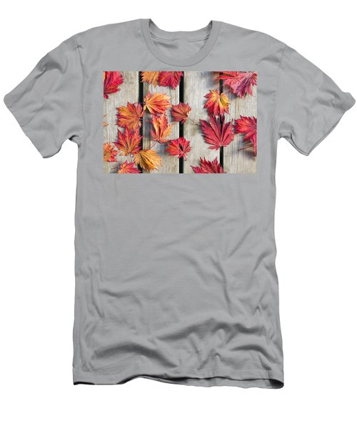 Japanese Maple Tree Leaves On Wood Deck Men's T-Shirt (Athletic Fit)