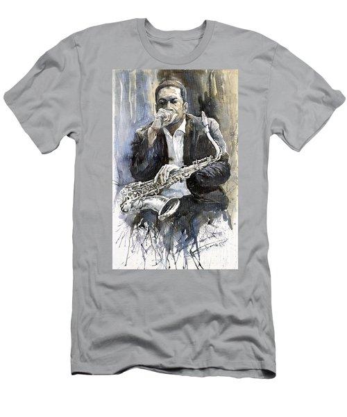 b8a586a80536 Jazz Saxophonist John Coltrane Yellow Men's T-Shirt (Athletic Fit)