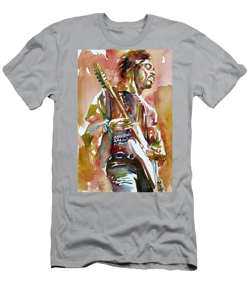Jimi Hendrix Playing The Guitar Portrait.3 Men's T-Shirt (Athletic Fit)