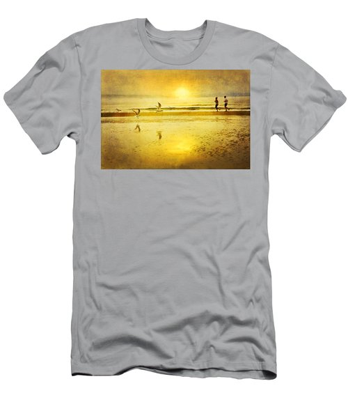 Jogging On Beach With Gulls Men's T-Shirt (Athletic Fit)