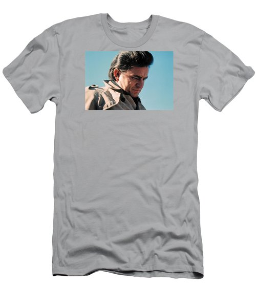 Men's T-Shirt (Slim Fit) featuring the photograph Johnny Cash  Music Homage Ballad Of Ira Hayes Old Tucson Arizona 1971 by David Lee Guss