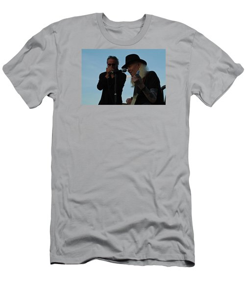 Men's T-Shirt (Slim Fit) featuring the photograph Johnny Winter And James Montgomery Playing The Blues by Mike Martin