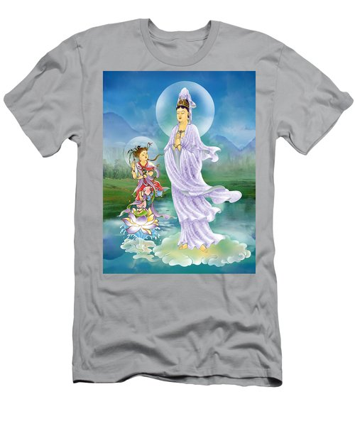 Joining Palms Kuan Yin Men's T-Shirt (Slim Fit) by Lanjee Chee