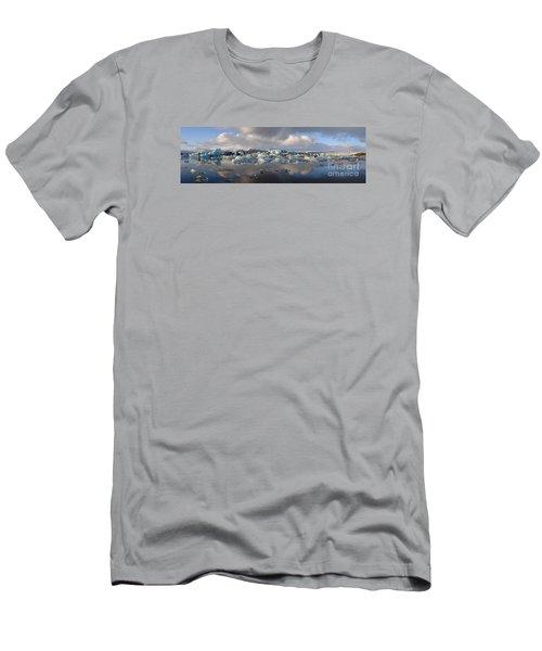 Jokulsarlon Glacier Lagoon Panorama Men's T-Shirt (Slim Fit) by IPics Photography