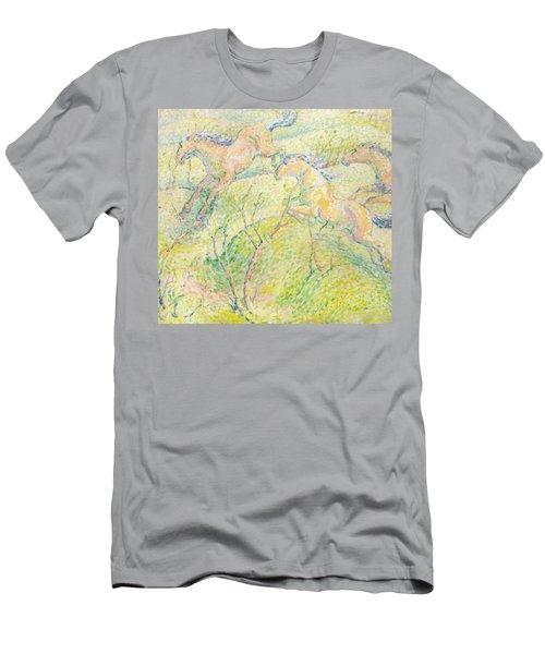 Jumping Horses Men's T-Shirt (Athletic Fit)