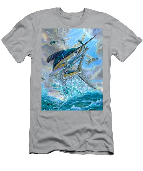 Jumping White Marlin And Flying Fish Men's T-Shirt (Athletic Fit)