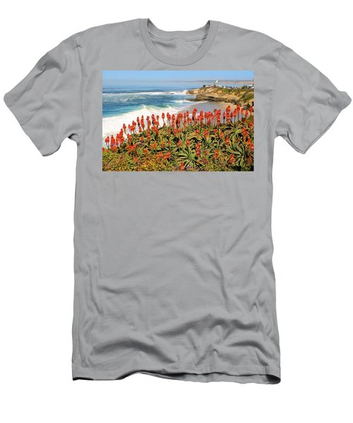 La Jolla Coast With Flowers Blooming Men's T-Shirt (Athletic Fit)