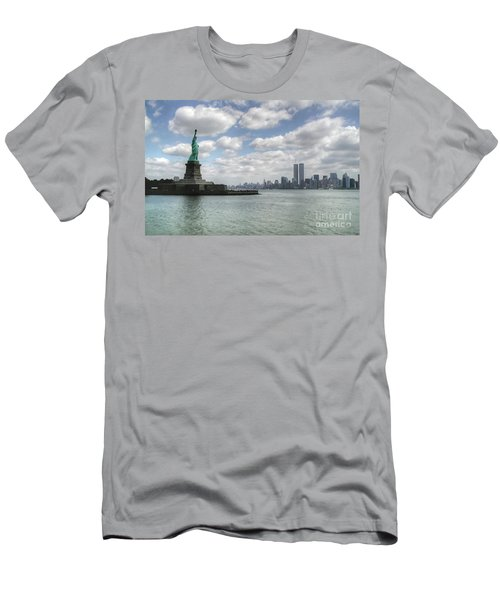 Lady Liberty And New York Twin Towers Men's T-Shirt (Athletic Fit)