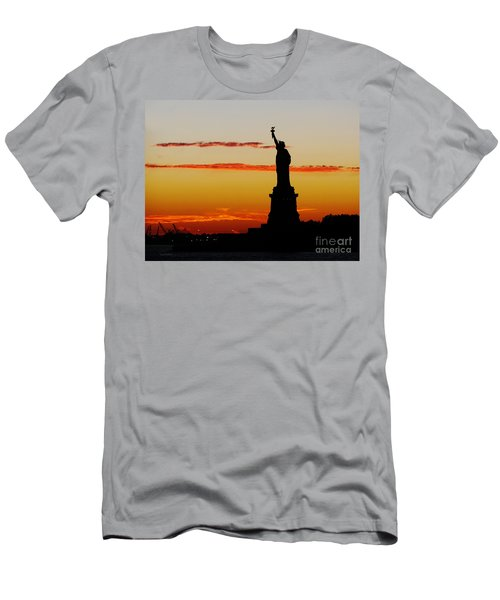 Men's T-Shirt (Slim Fit) featuring the photograph Lady Liberty At Sunset by Susan Wiedmann