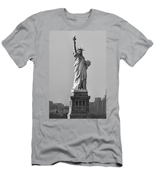 Lady Liberty Black And White Men's T-Shirt (Athletic Fit)