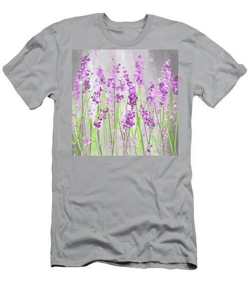 Lavender Blossoms - Lavender Field Painting Men's T-Shirt (Athletic Fit)