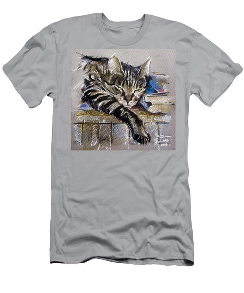 Lazy Cat Portrait - Drawing Men's T-Shirt (Athletic Fit)