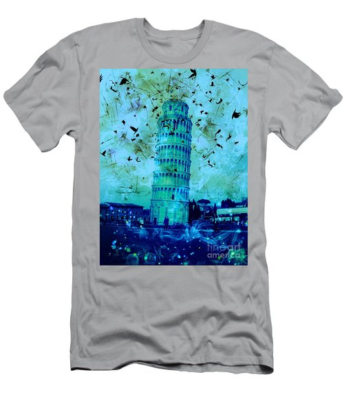 Leaning Tower Of Pisa 3 Blue Men's T-Shirt (Athletic Fit)
