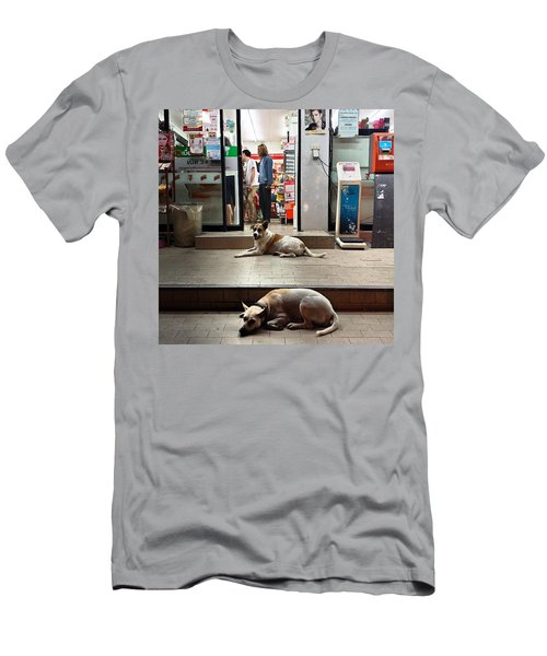 Men's T-Shirt (Athletic Fit) featuring the photograph Let Sleeping Dogs Lie Where They May by Mr Photojimsf