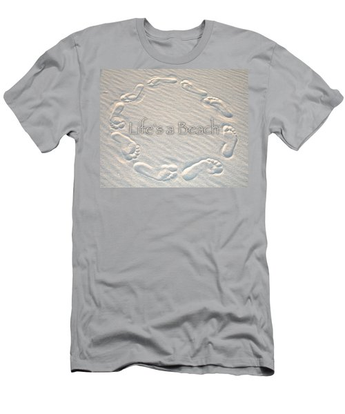Lifes A Beach With Text Men's T-Shirt (Athletic Fit)