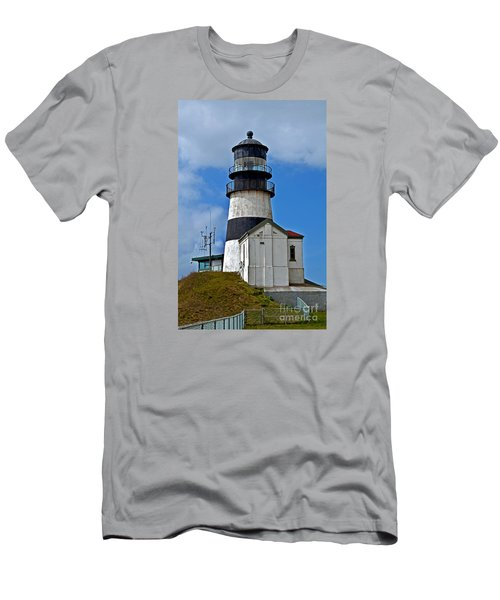Lighthouse At Cape Disappointment Washington Men's T-Shirt (Slim Fit) by Valerie Garner