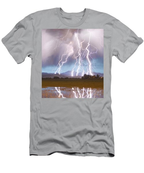 Lightning Striking Longs Peak Foothills 4c Men's T-Shirt (Athletic Fit)