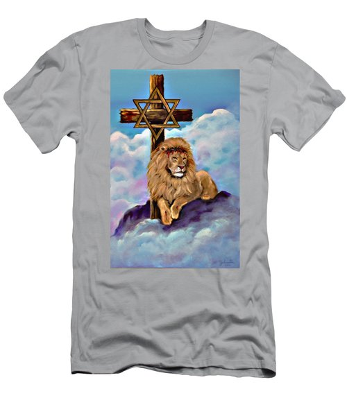 Lion Of Judah At The Cross Men's T-Shirt (Athletic Fit)