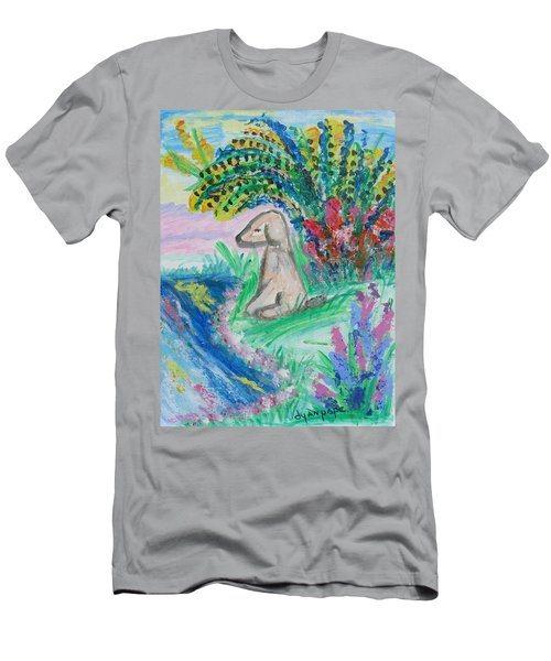 Men's T-Shirt (Slim Fit) featuring the painting Little Sweet Pea by Diane Pape