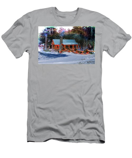 Men's T-Shirt (Athletic Fit) featuring the photograph Log Home On Mount Charleston With Christmas Decoration by Gunter Nezhoda