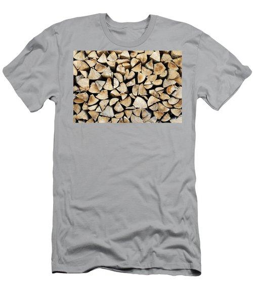 Logs Background Men's T-Shirt (Athletic Fit)