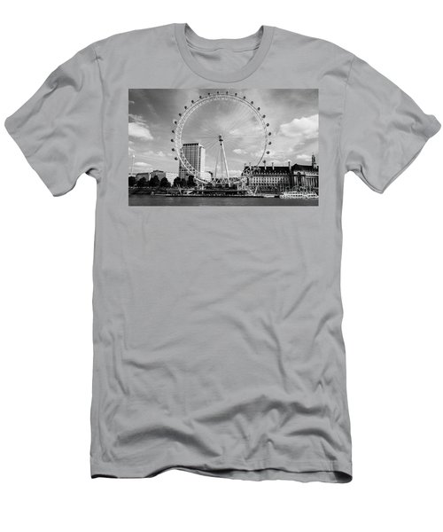 Men's T-Shirt (Slim Fit) featuring the photograph London Eye Head-on Bw by Matt Malloy