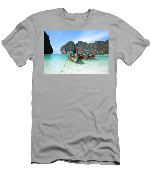Long Tail Boats On Maya Bay Beach - Ko Phi Phi - Thailand Men's T-Shirt (Athletic Fit)