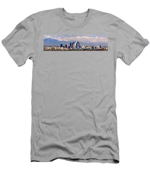 Los Angeles Skyline With Mountains In Background Men's T-Shirt (Slim Fit) by Jon Holiday