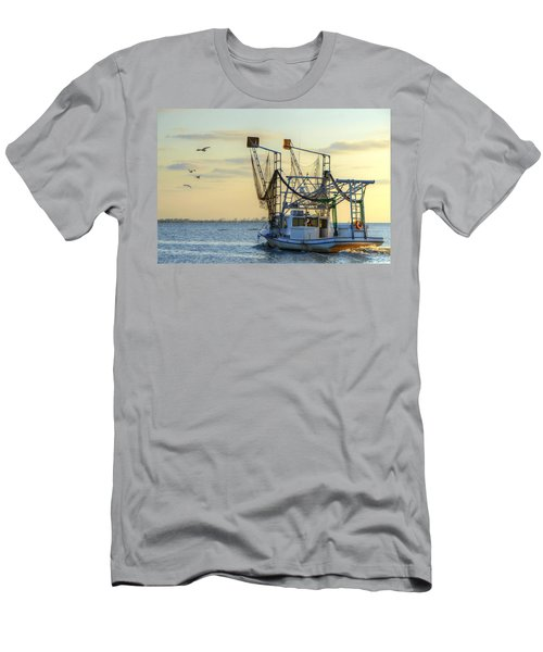 Louisiana Shrimping Men's T-Shirt (Slim Fit) by Charlotte Schafer