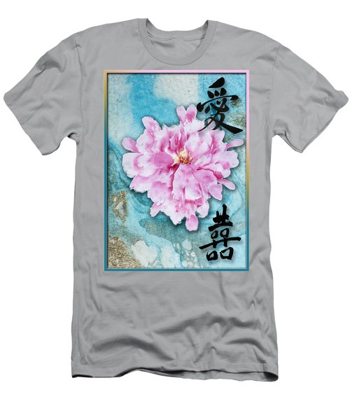 Men's T-Shirt (Slim Fit) featuring the mixed media Love Double Happiness With Red Peony by Peter v Quenter