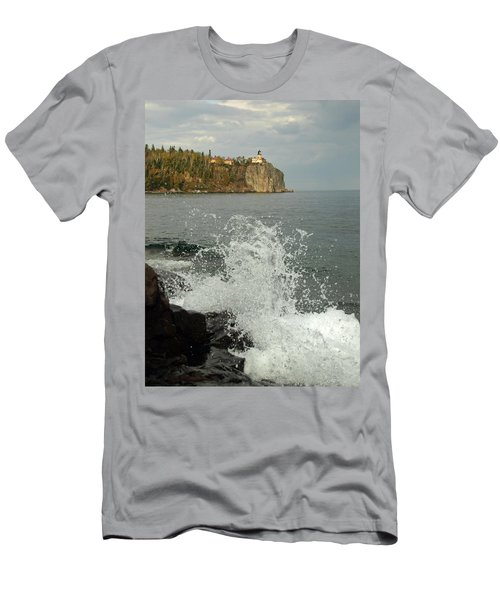 Men's T-Shirt (Slim Fit) featuring the photograph Making A Splash At Split Rock Lighthouse  by James Peterson