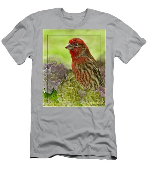 Men's T-Shirt (Slim Fit) featuring the photograph Male Finch In Hydrangesa by Debbie Portwood