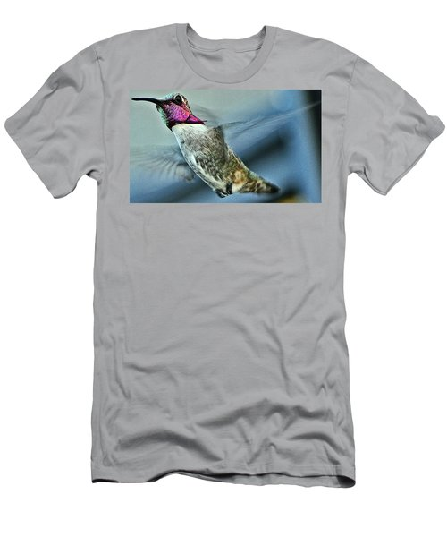 Men's T-Shirt (Slim Fit) featuring the photograph Male Hummingbird Free As A Bird by Jay Milo