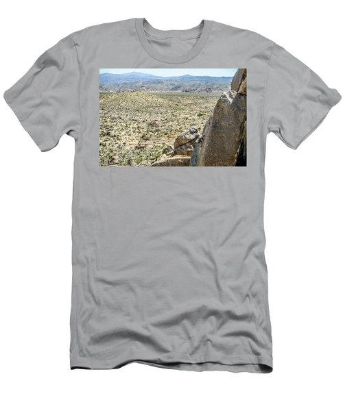 Man Climbing Rock Wall In Joshua Tree Men's T-Shirt (Athletic Fit)