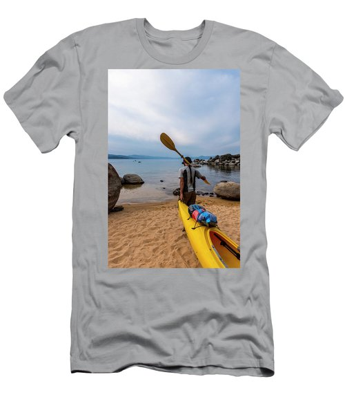 Man With A Paddle Over His Shoulder Men's T-Shirt (Athletic Fit)
