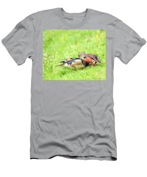 Mandarin Duck Couple Men's T-Shirt (Athletic Fit)