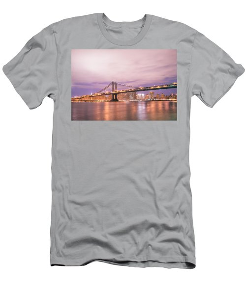 Manhattan Bridge And New York City Skyline At Night Men's T-Shirt (Athletic Fit)
