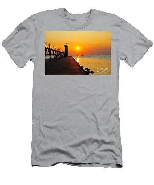 Manistee Lighthouse Sunset Men's T-Shirt (Athletic Fit)