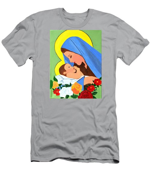 Maria And Baby Jesus Men's T-Shirt (Slim Fit) by Magdalena Frohnsdorff
