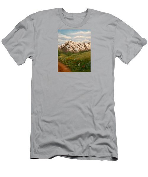 Men's T-Shirt (Slim Fit) featuring the painting Maroon Trail Splendor by Sheri Keith