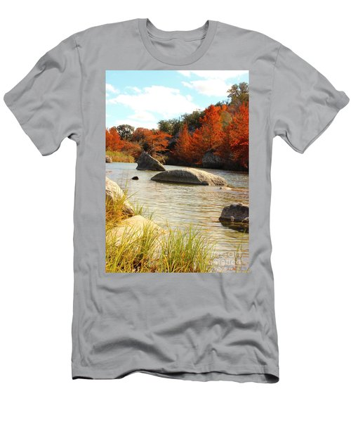 Fall Cypress At Bandera Falls On The Medina River Men's T-Shirt (Athletic Fit)
