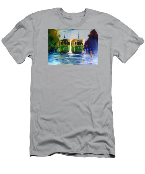 Men's T-Shirt (Slim Fit) featuring the painting Melbourne Trams by Therese Alcorn